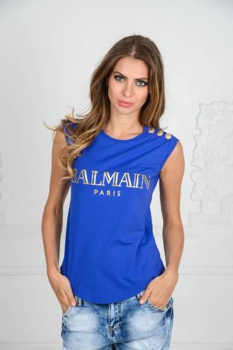Синяя майка Balmain