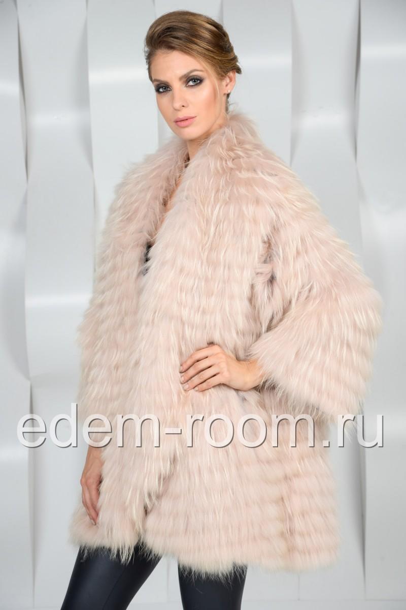 Меховое пальто из лисы на кашемире