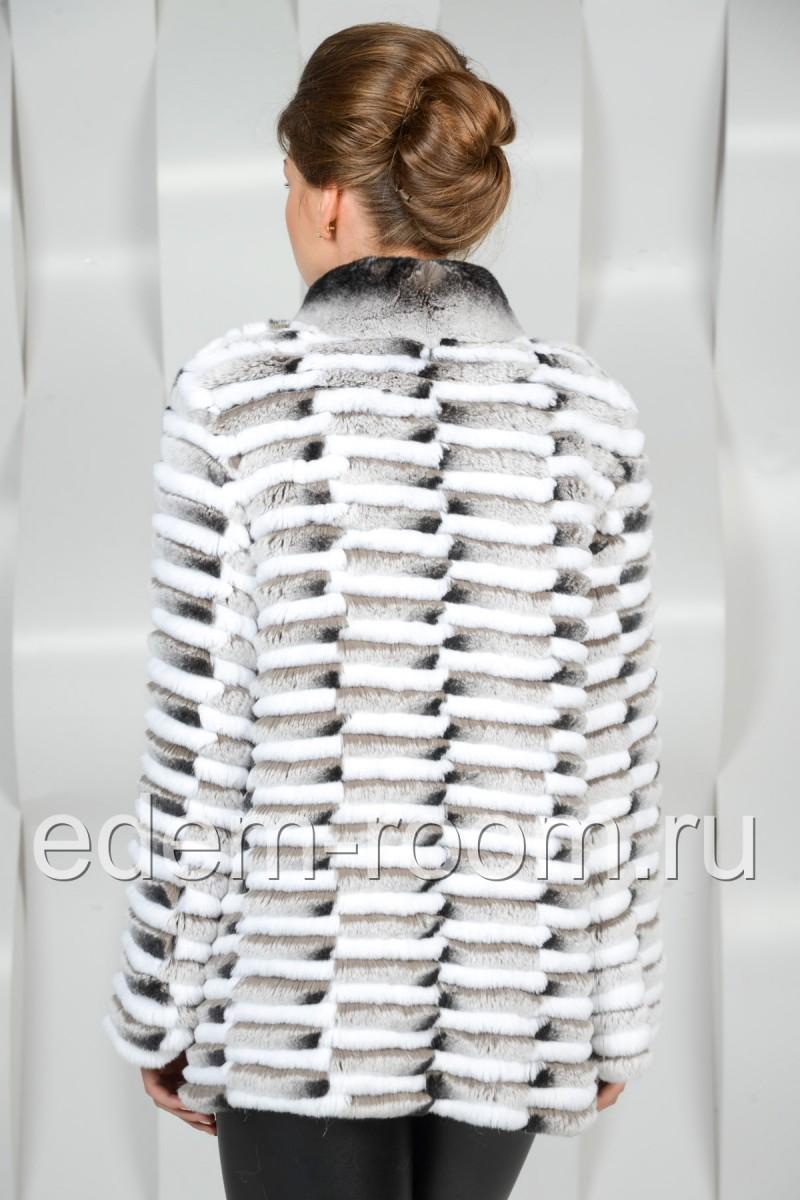 Меховое облегчённое пальто из кролика рекс