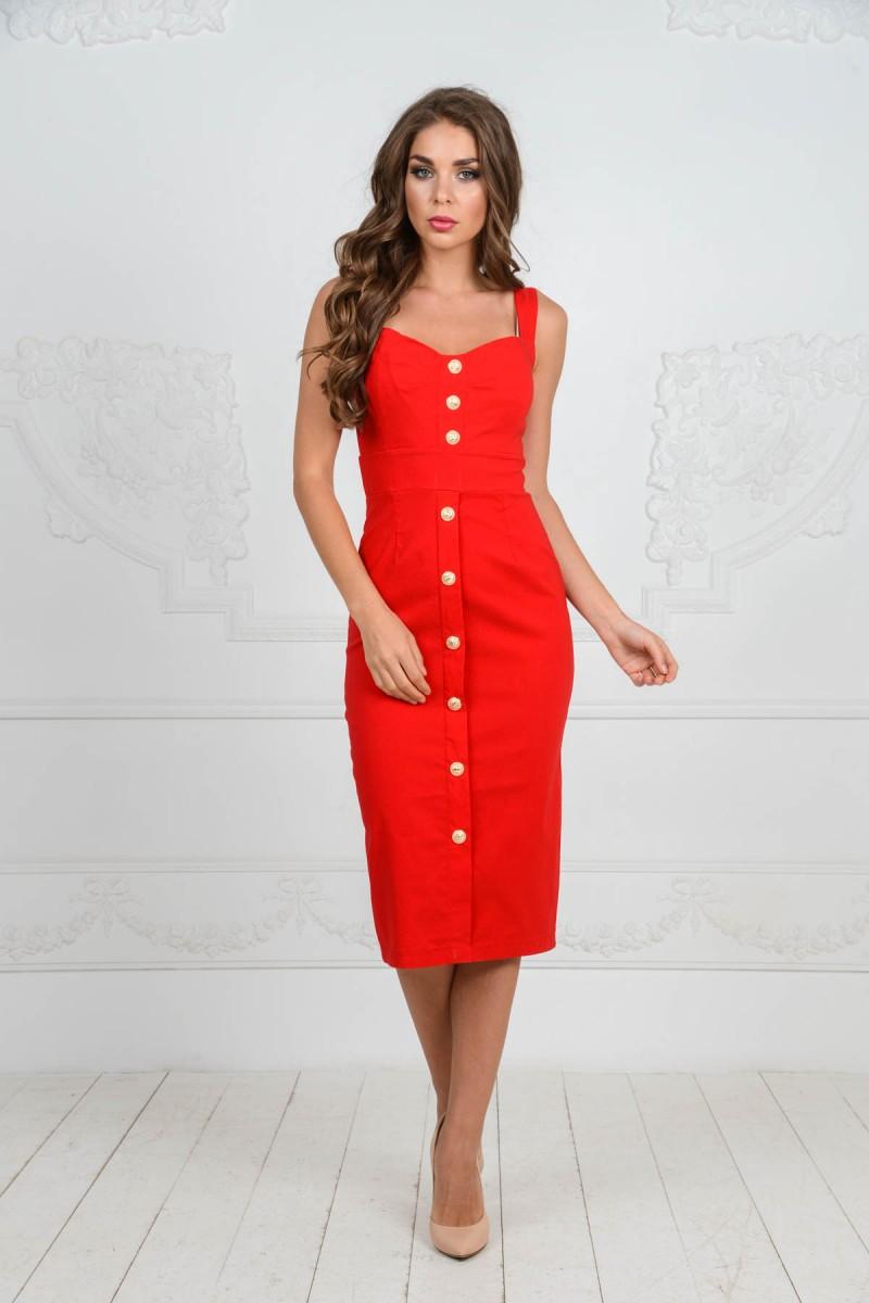 Красное платье BALMAIN