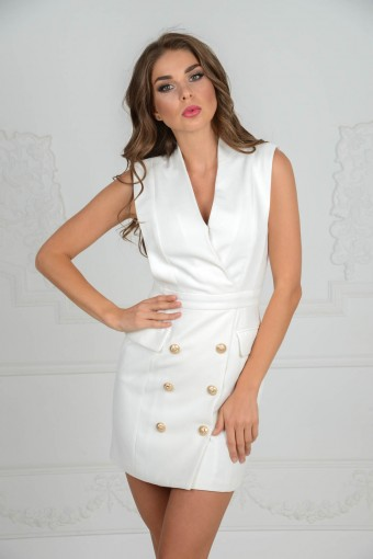 Белое платье BALMAIN
