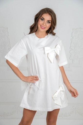 Хлопковое платье с бантиками