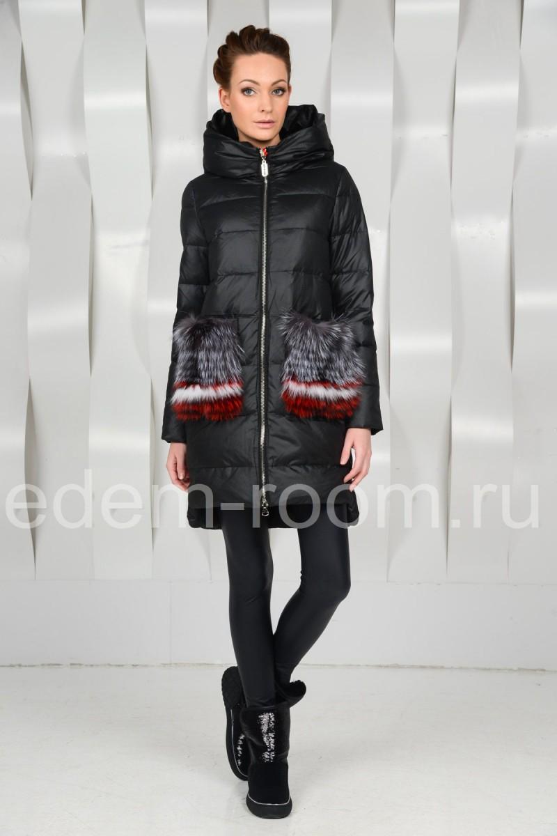 Модный  пуховик с меховыми карманами