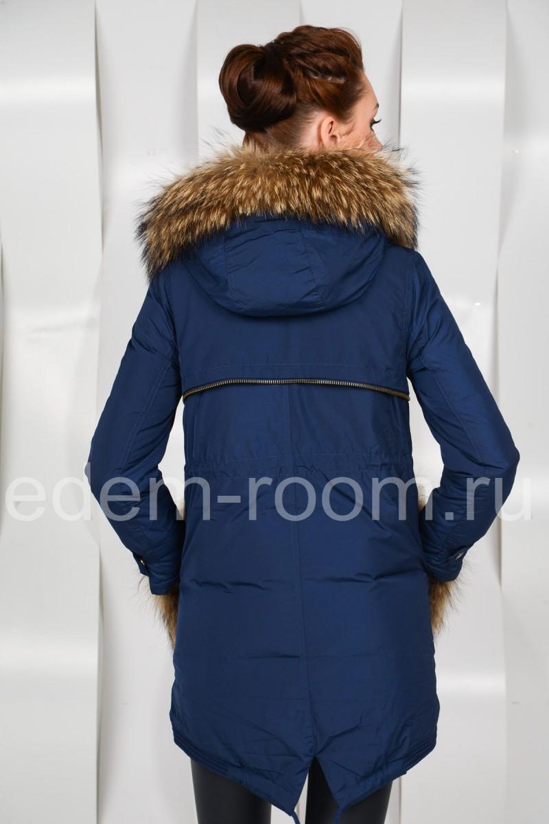 Женский пуховик с меховыми карманами
