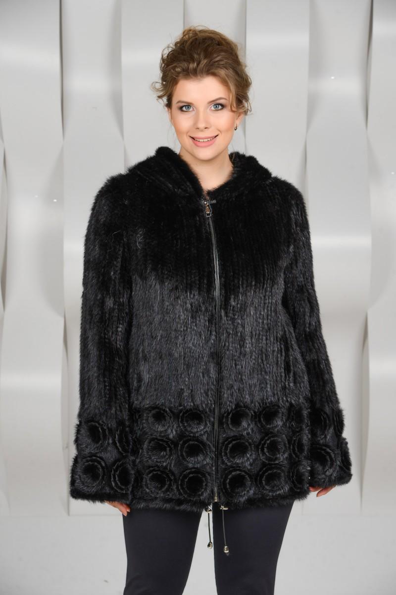 Куртка на молнии из вязаной норки на большие размеры