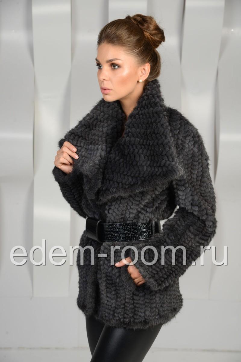Жакет из вязаной норки