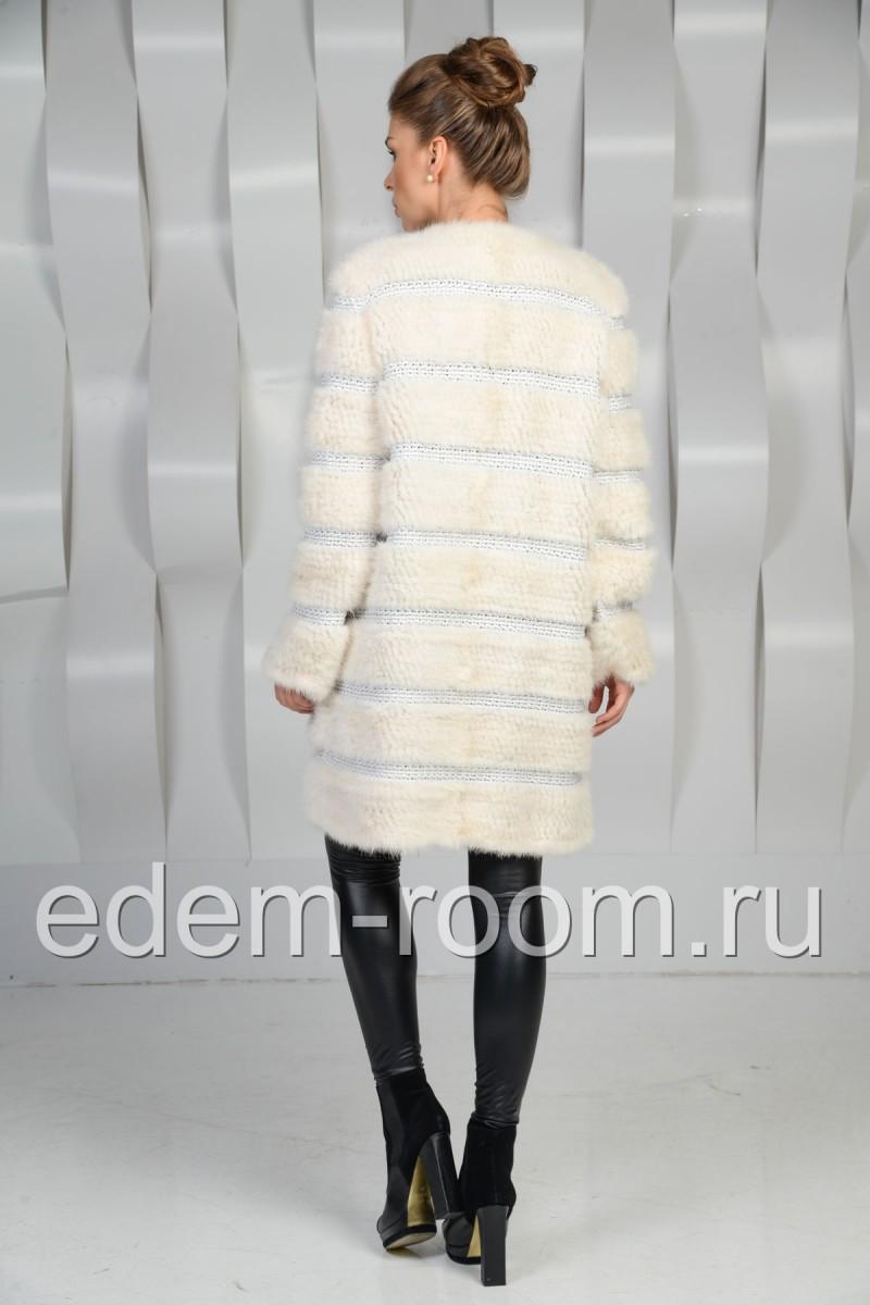 Белая норковая вязка