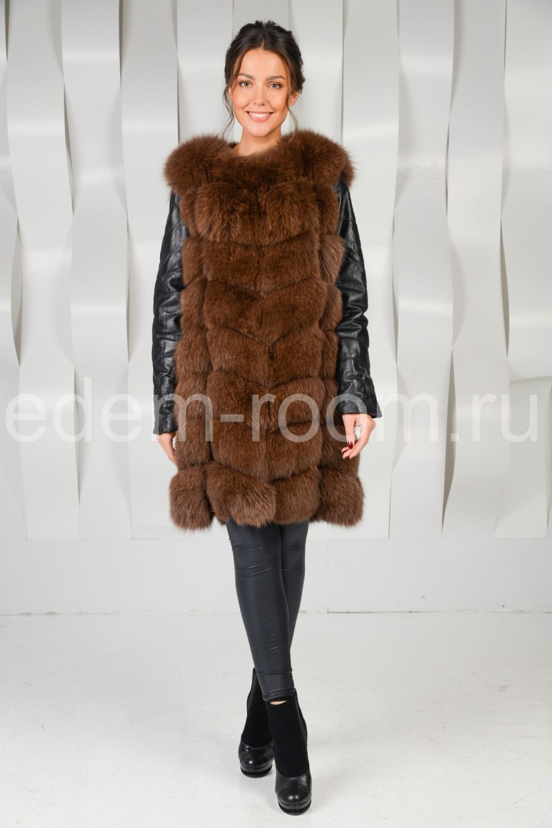 Кожаная куртка - жилетка из меха песца