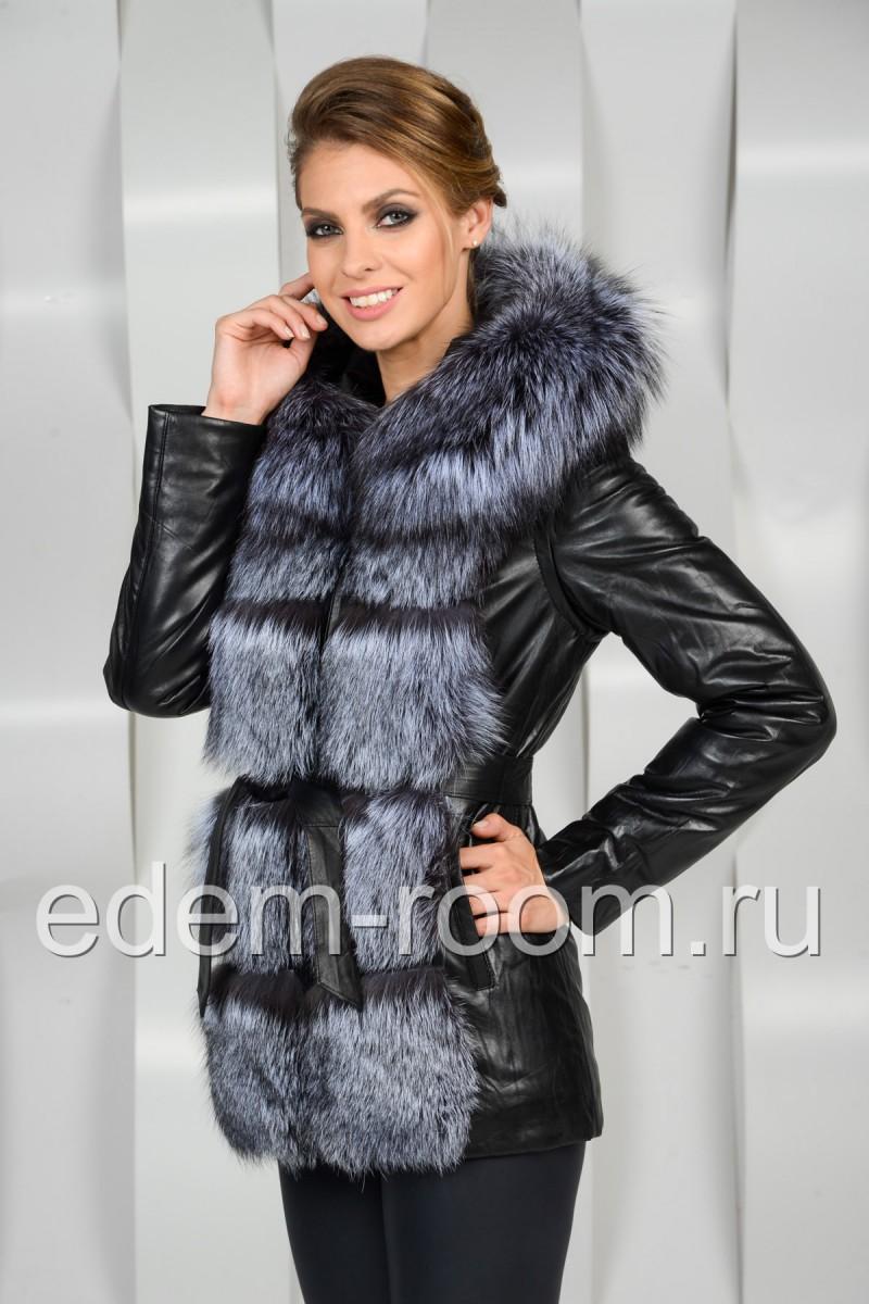 Зимняя кожаная куртка - жилетка