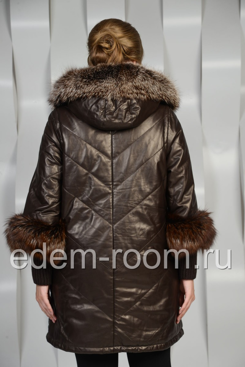 Зимнее кожаное пальто с мехом