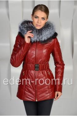 Зимняя куртка из экокожи