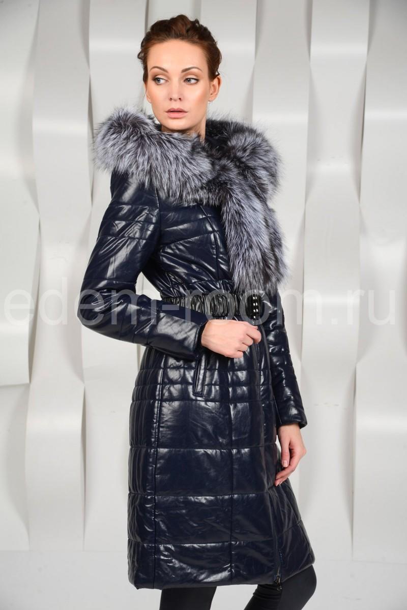 Женское пальто из экокожи