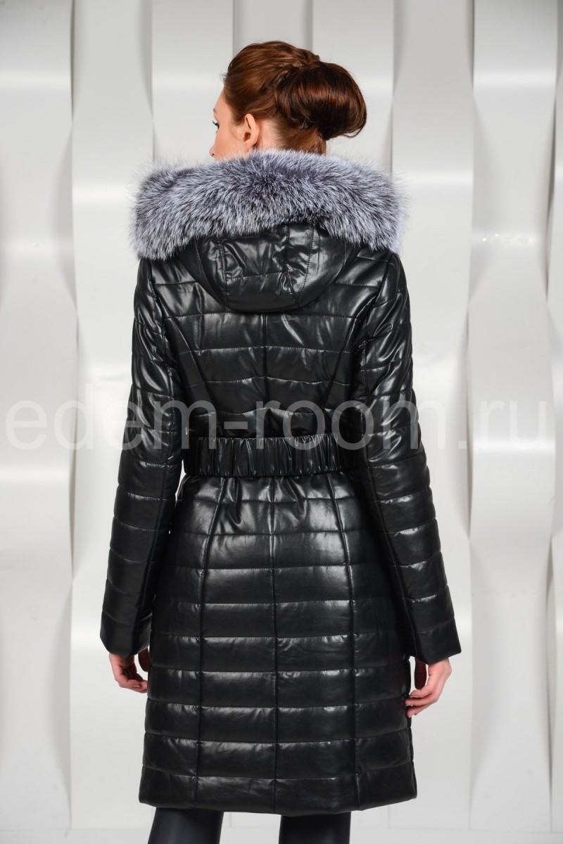 Тёплое пальто из эко-кожи