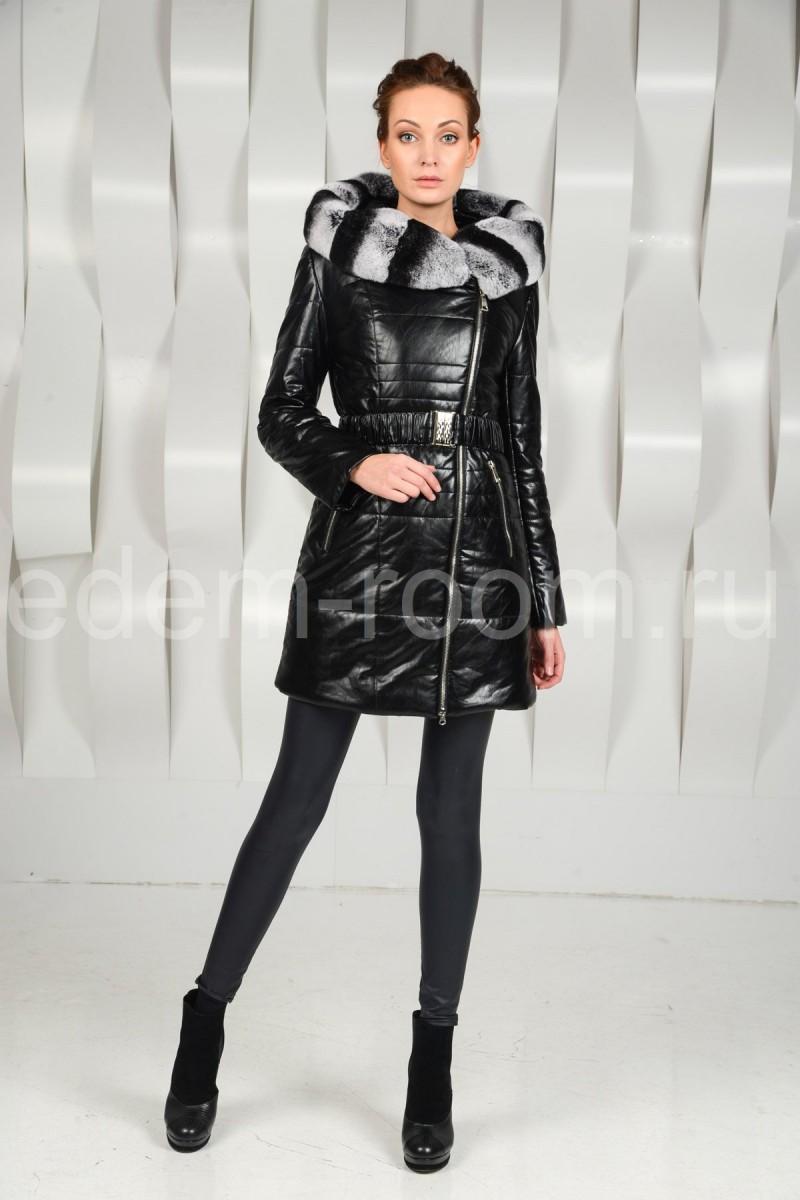 Молодёжное пальто из экокожи