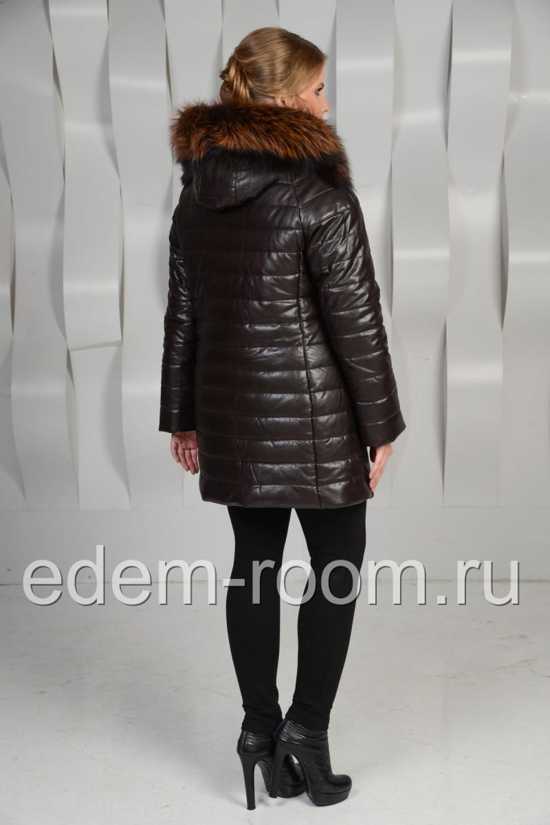 Зимняя куртка для женщин из эко-кожи