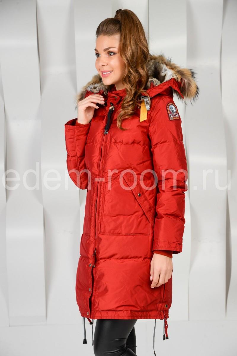 Куртка пуховая красного цвета Параджамперс