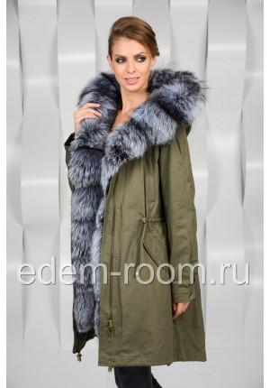 Зимняя куртка - парка с мехом чернобурки