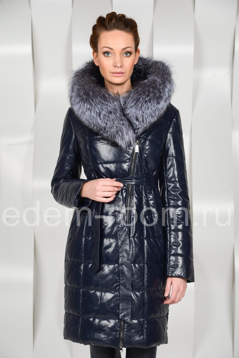 Зимнее пальто из эко-кожи