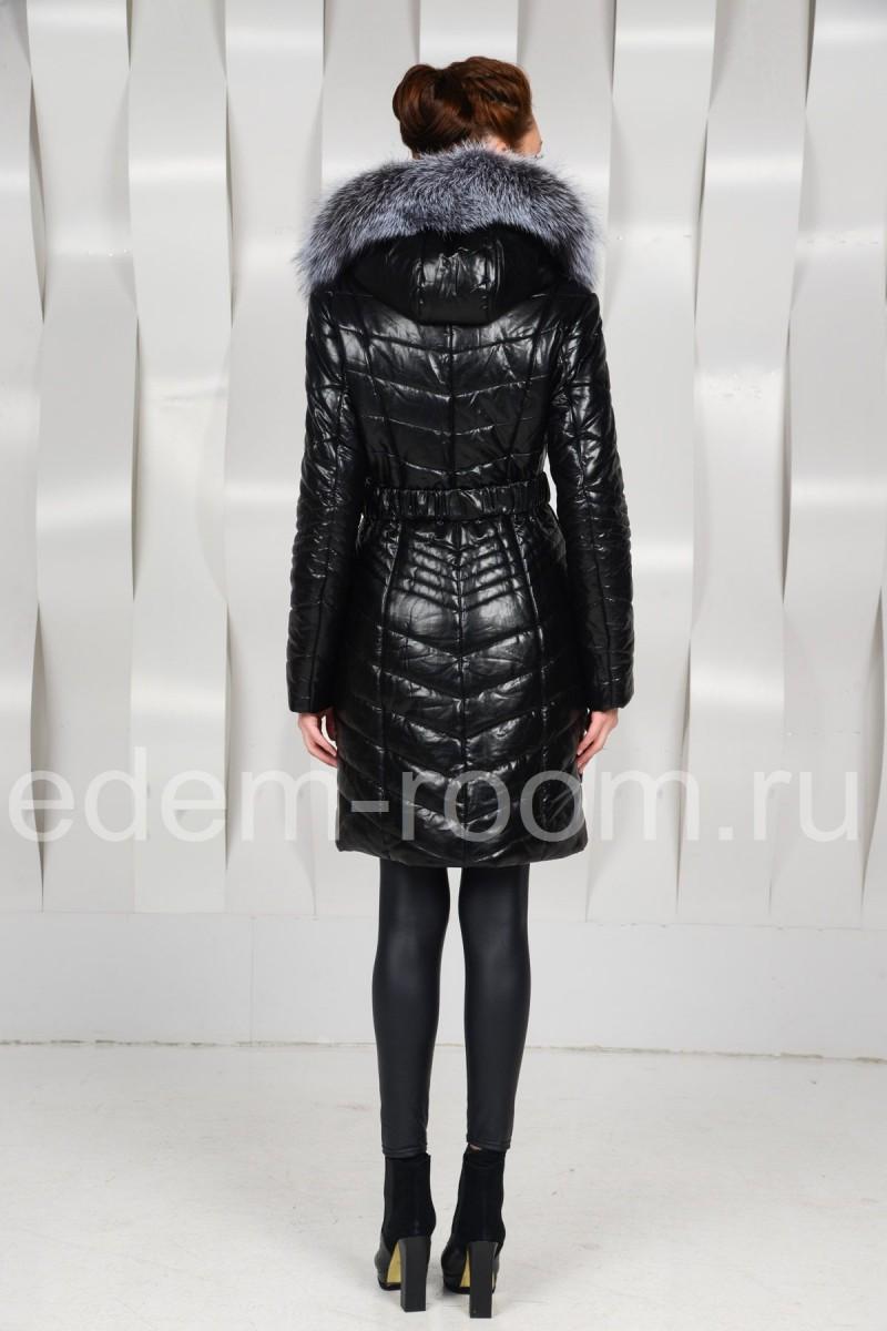 Женское пальто из искусственной кожи