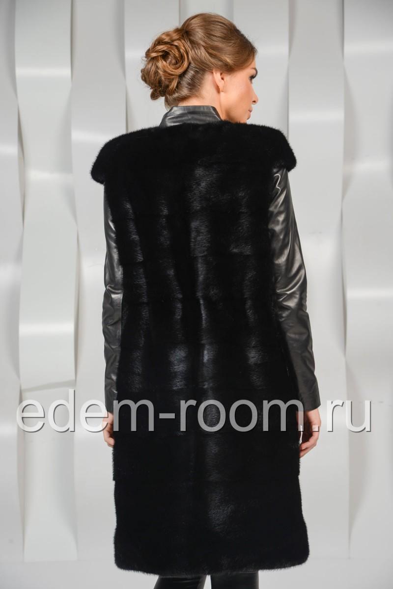 Чёрная норковая жилетка