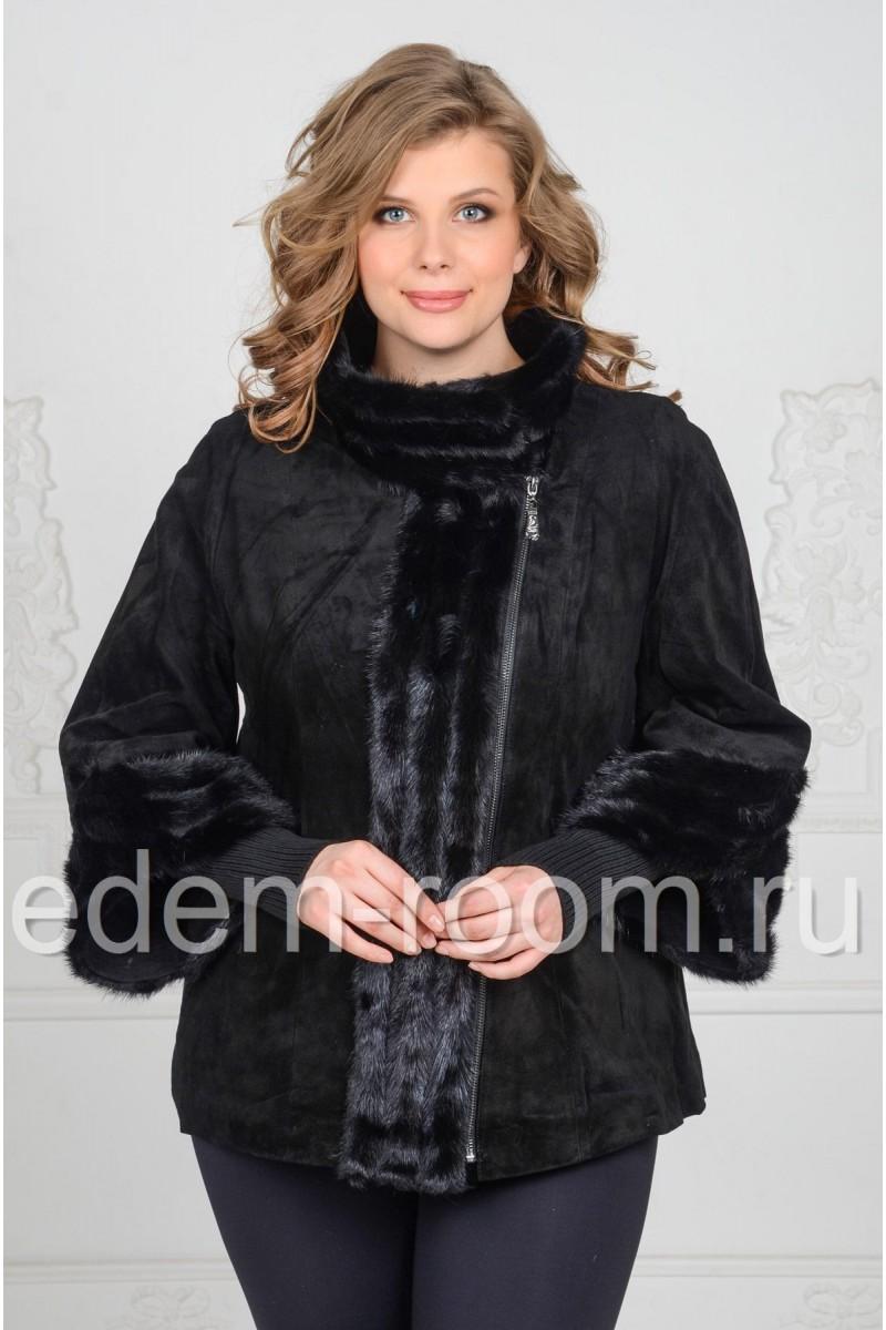 Женская куртка из замши на межсезонье