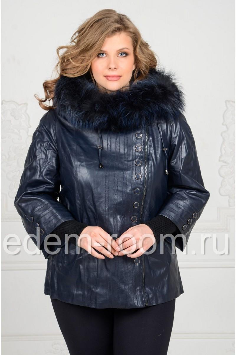 Осенее-весенняя кожаная куртка на большие размеры