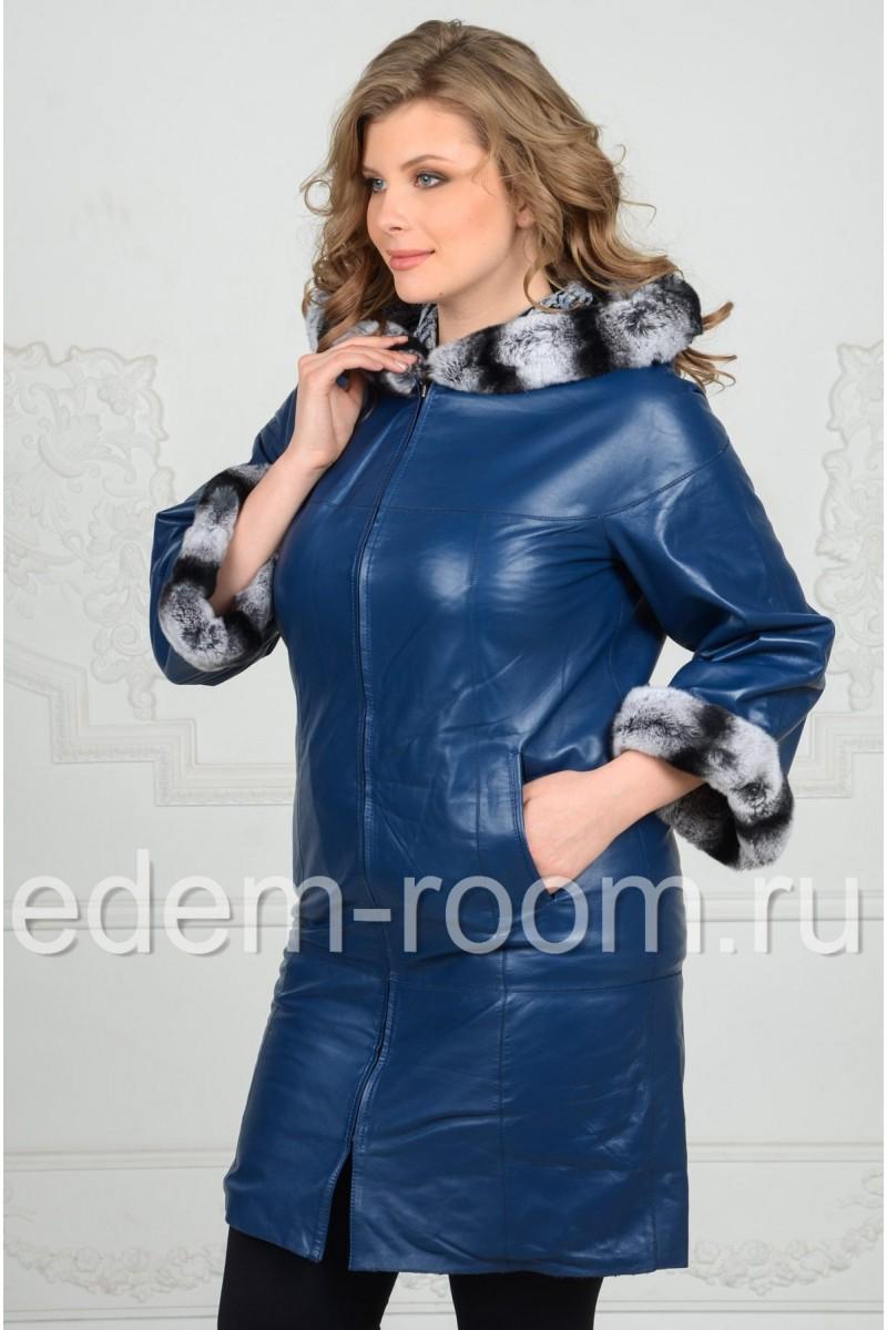 Весеннее кожаное пальто для женщин
