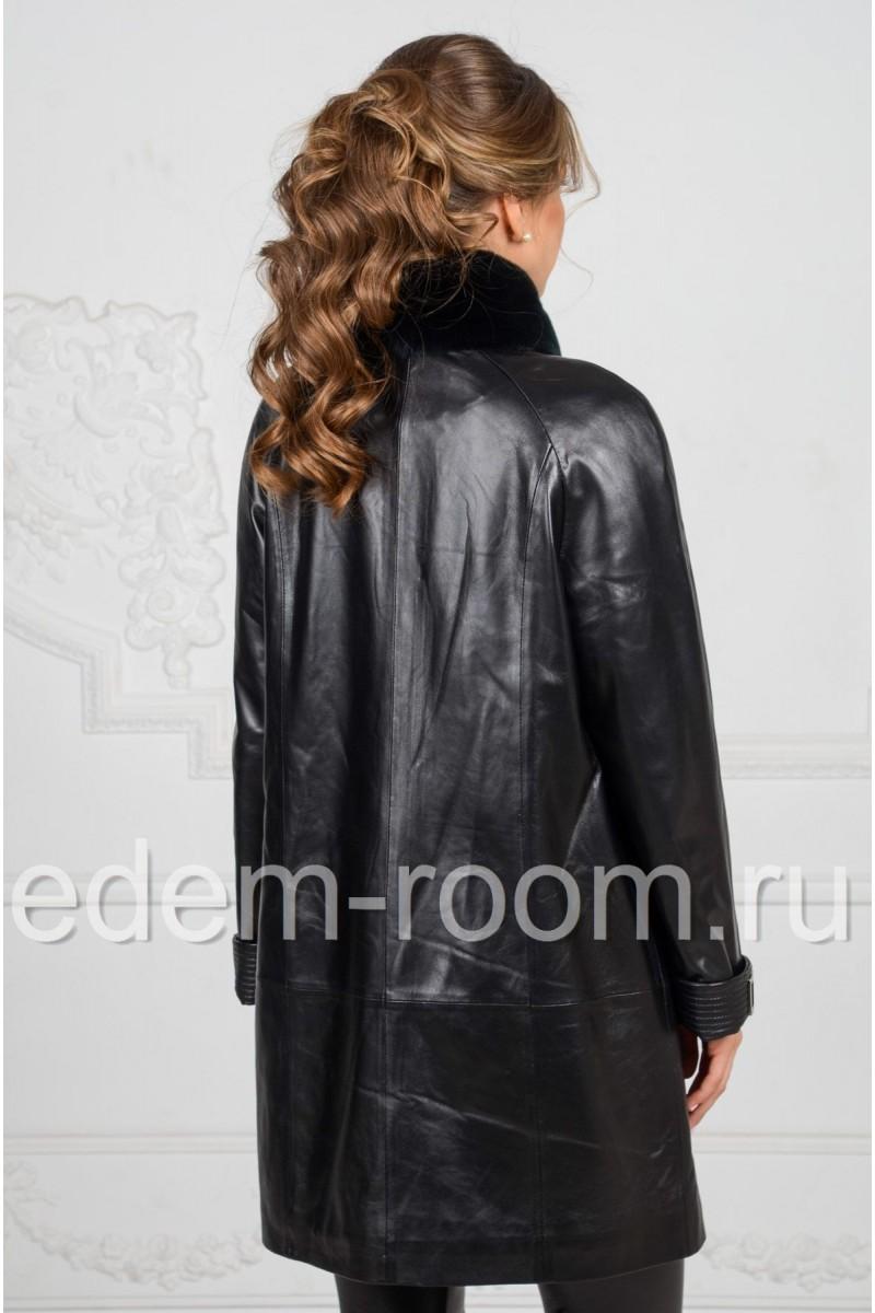 Демисезонное кожаный плащ для женщин