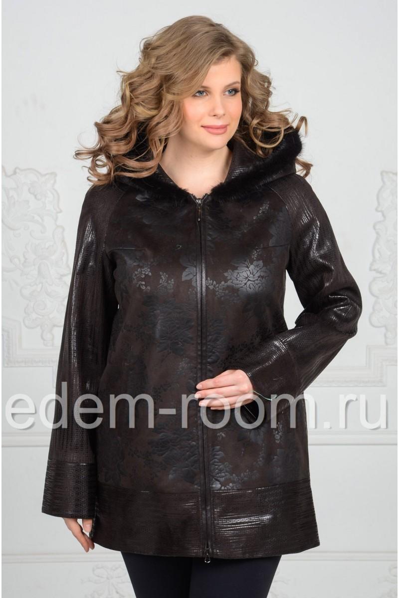 Женская утеплённая куртка из эко-замши