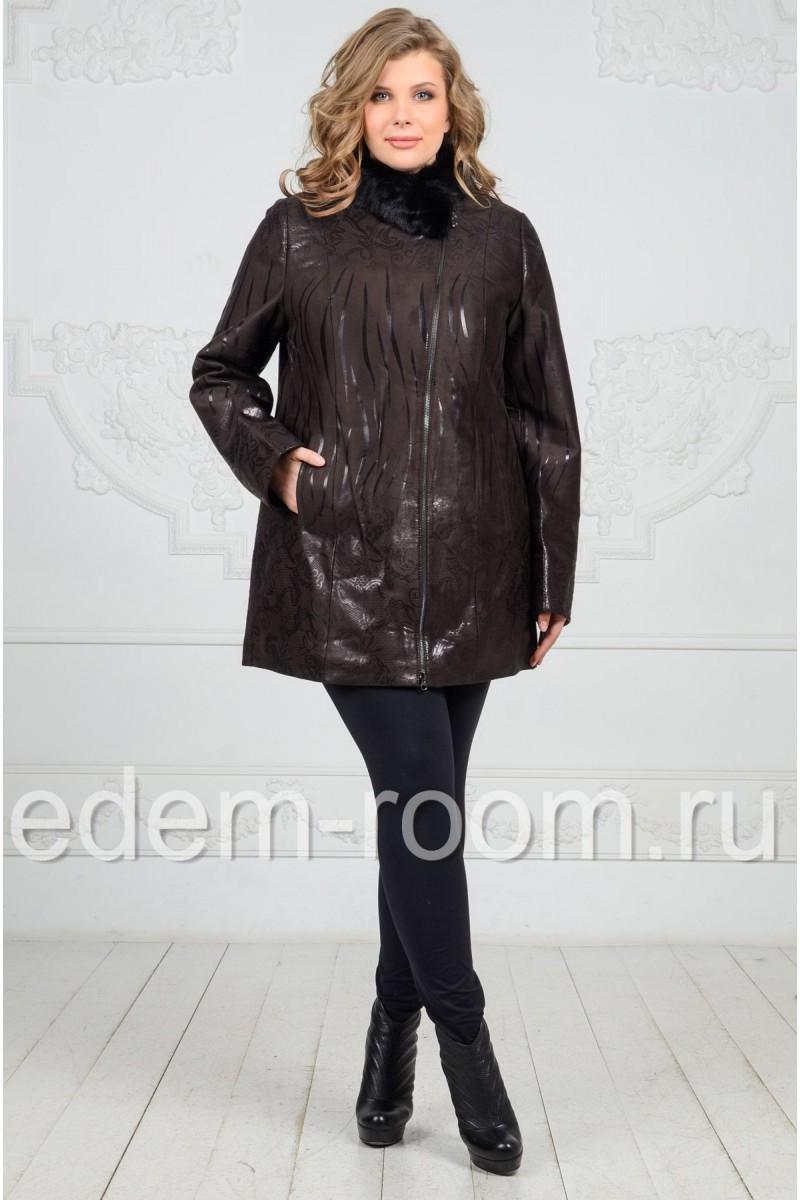 Демисезонная куртка с воротником из меха норки