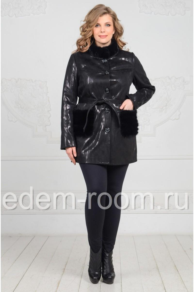 Куртка на большие размеры с меховыми карманами