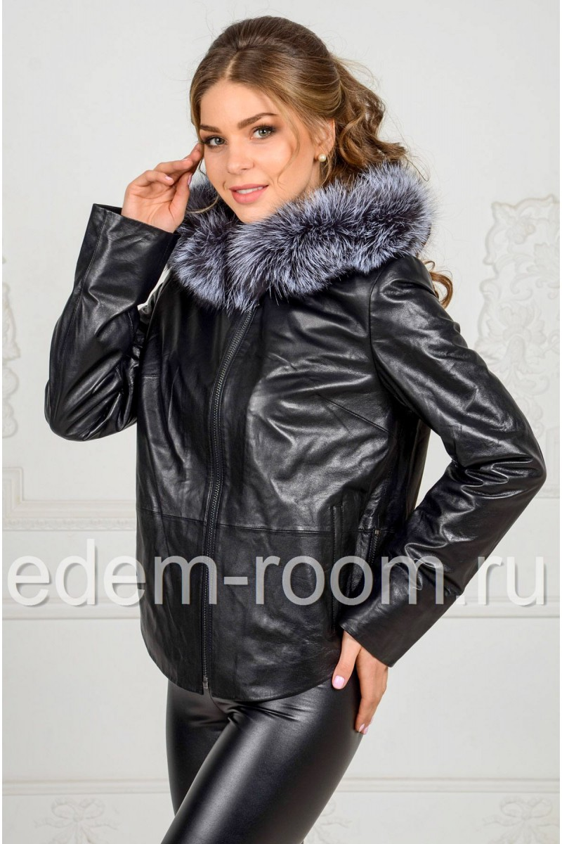 Чёрная утеплённая куртка из кожи