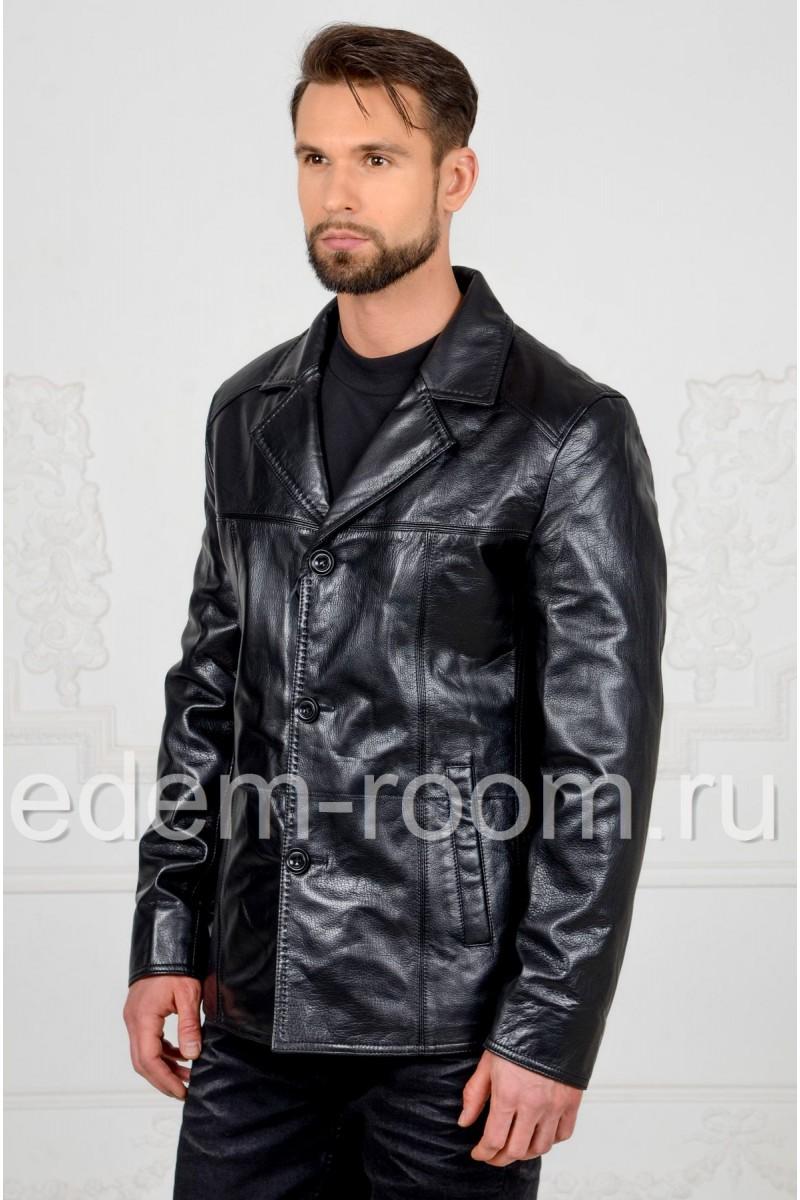 Мужская кожаная куртка с английским воротником