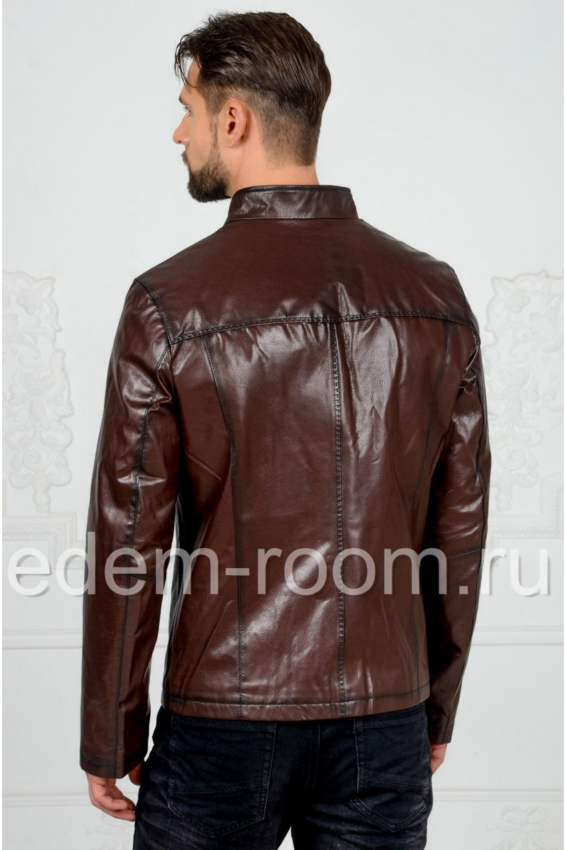 Коричневая куртка из натуральной кожи