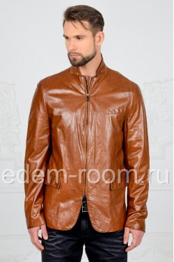 Куртка - коричневый пиджак из натуральной кожи