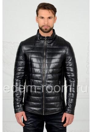 Утеплённая кожаная куртка для мужчин