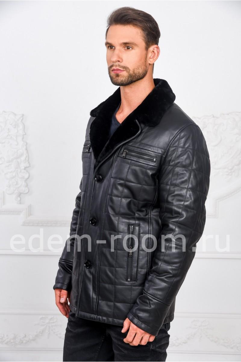 Стёганная кожаная куртка