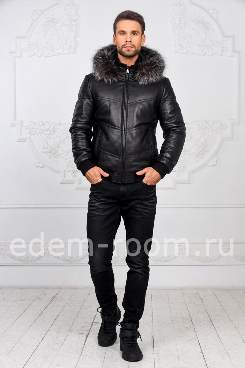 Короткая зимняя куртка из кожи