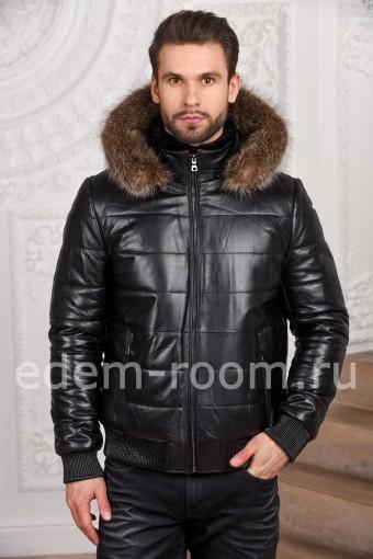 Зимняя мужская кожаная куртка - бомбер