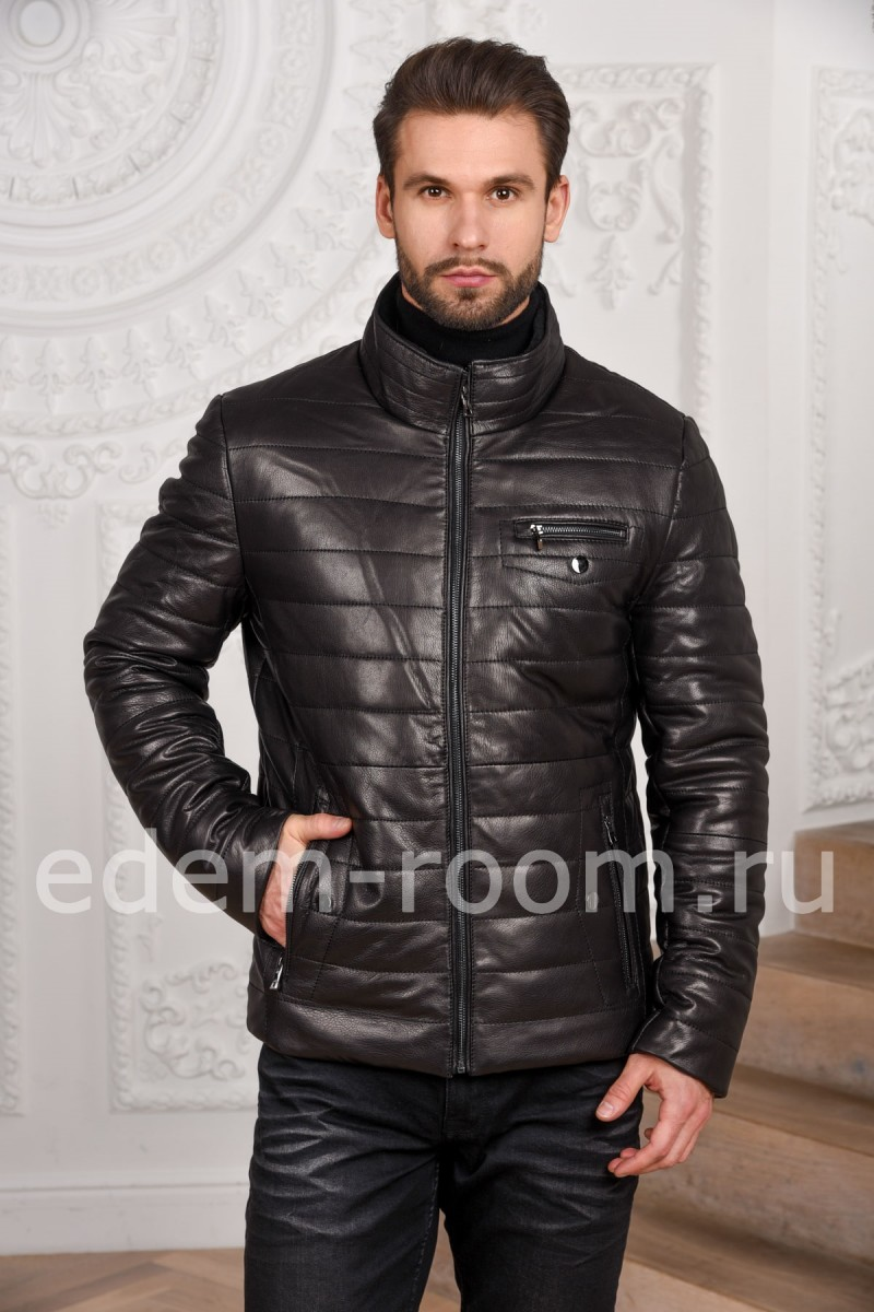 Зимняя куртка из кожи для мужчин