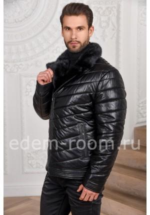 Зимяя мужская куртка из экокожи