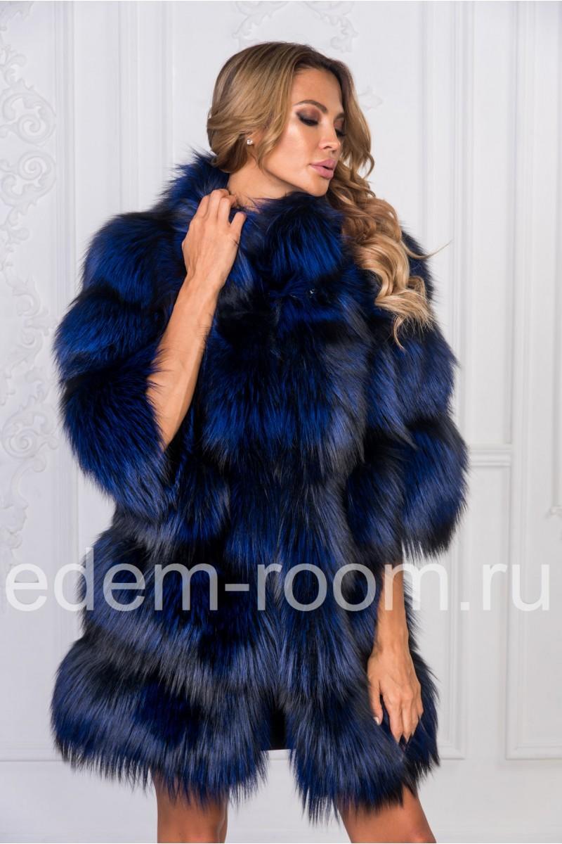 Синяя шуба из чернобурой лисы