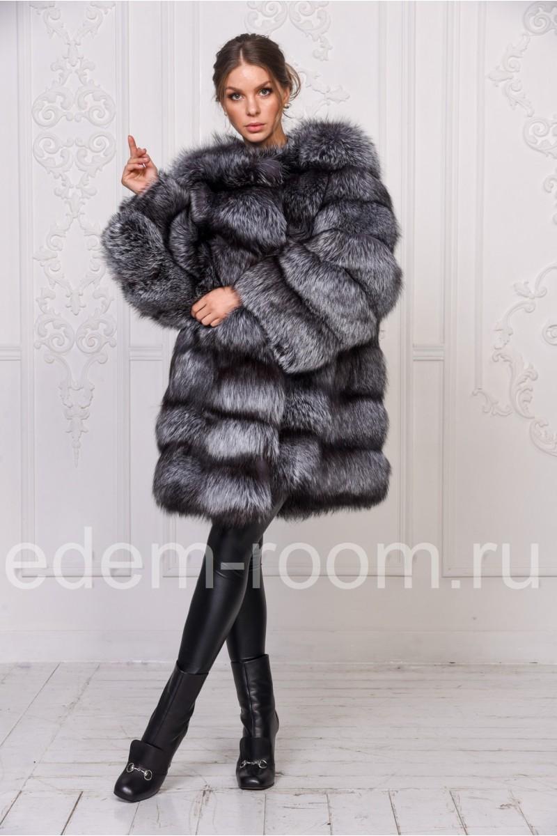Шуба из чернобурки - ворот шанель