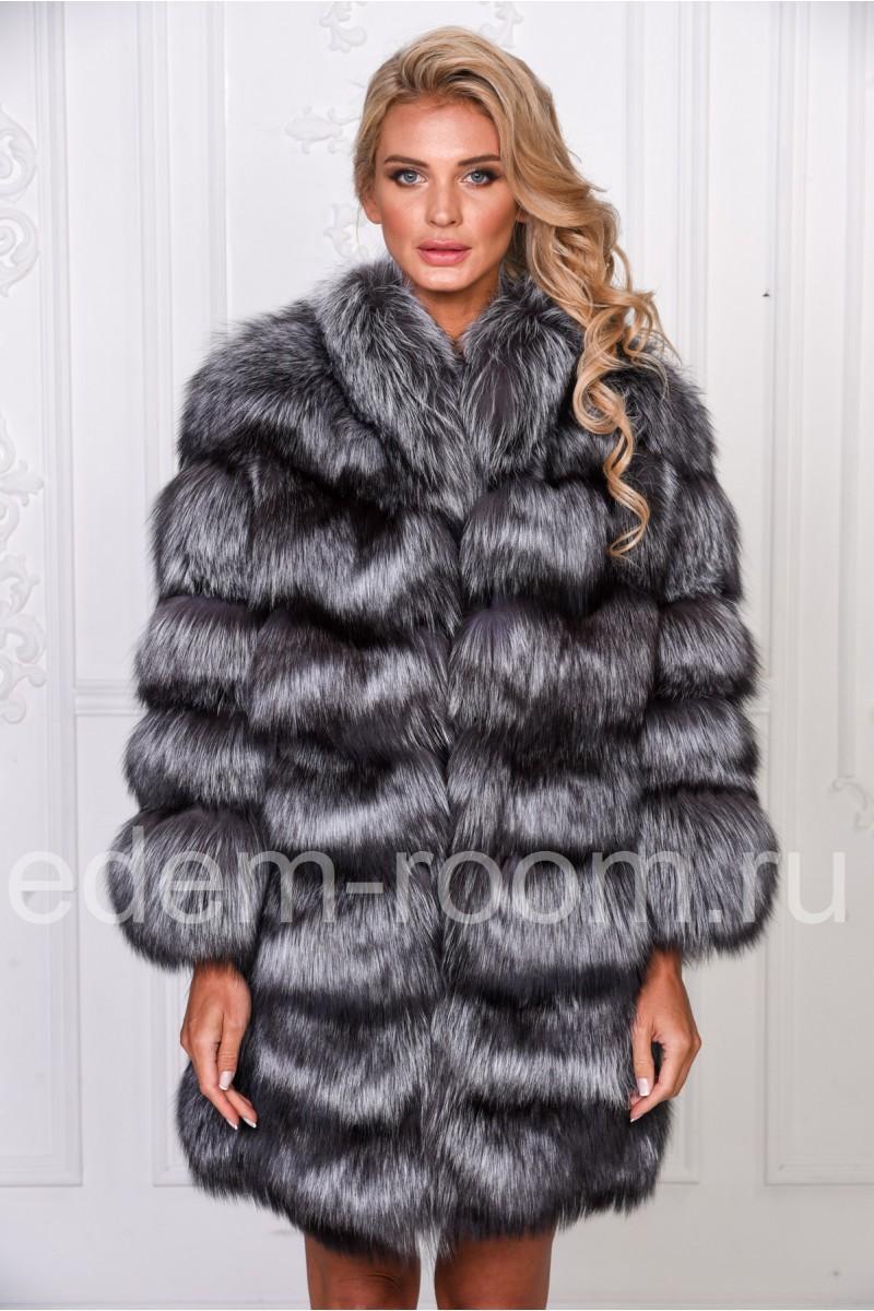Женская молодежная шуба из чернобурки
