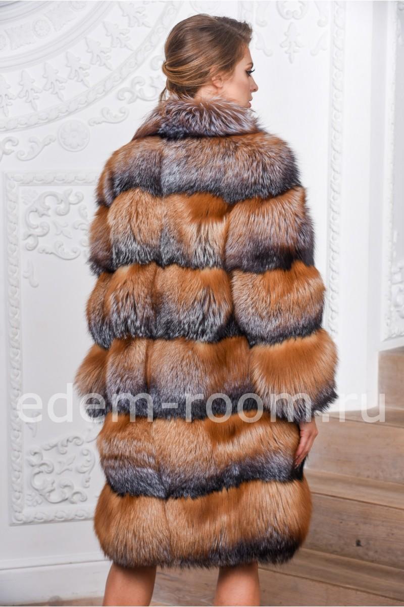 Удлинённая шуба из лисы