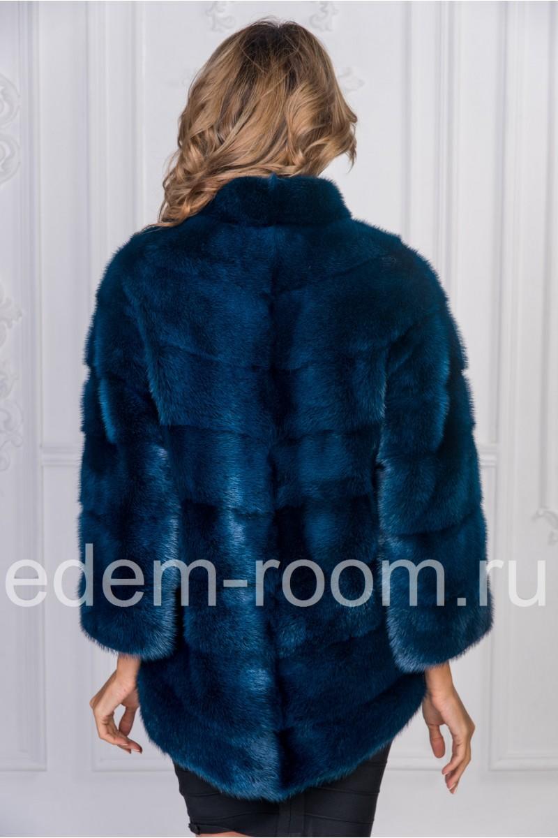 Синяя норковая шуба