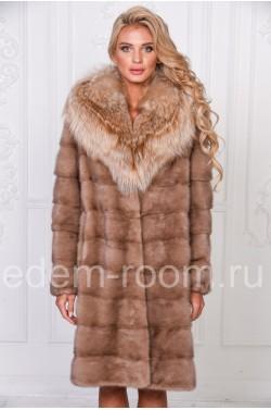 Шикарная норковая шуба с мехом лисы