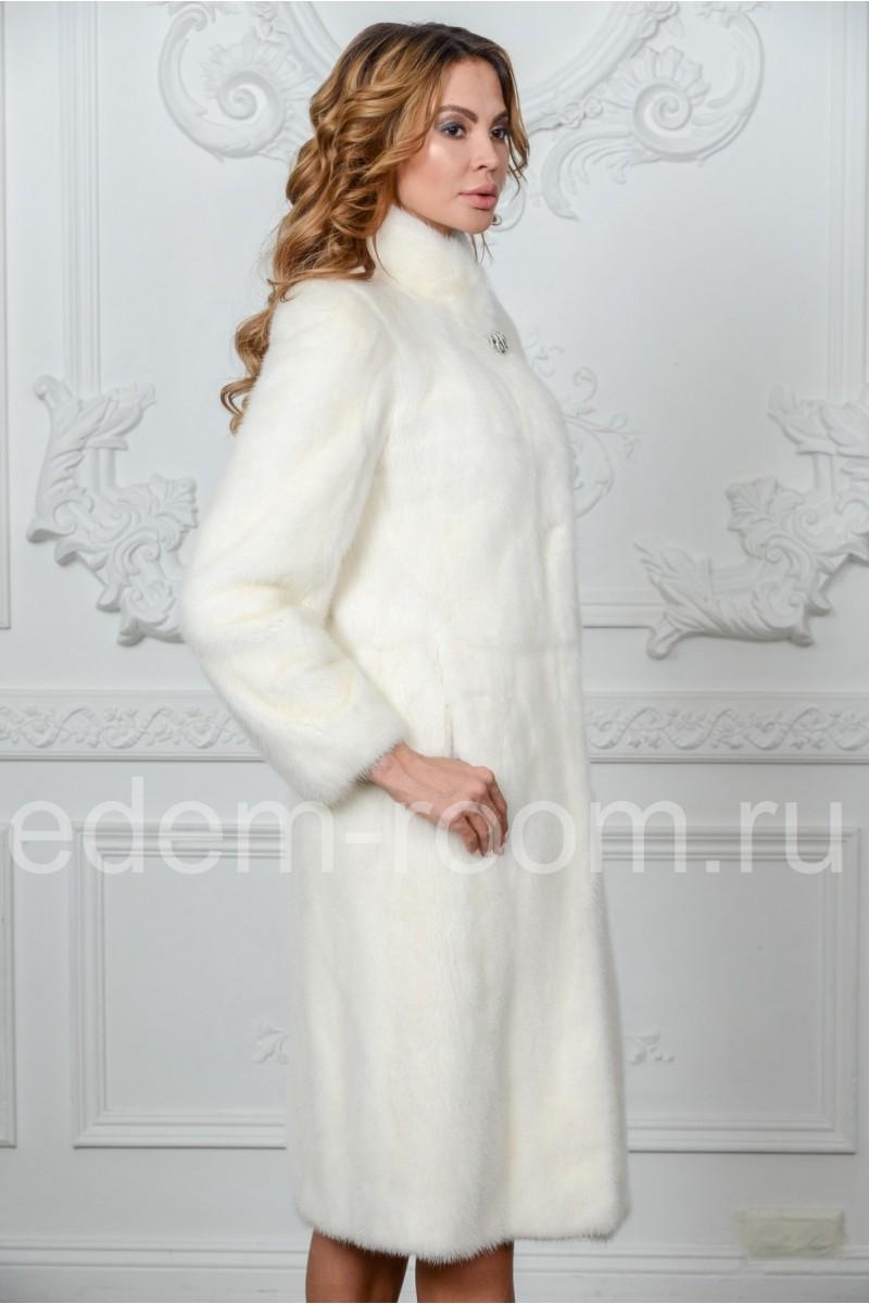 Белая шуба из скандинавской норки