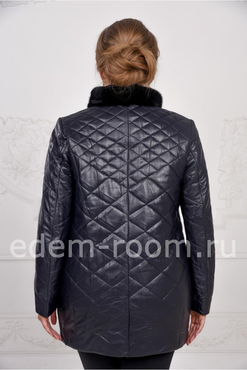 Осенняя кожаная куртка на большие размеры