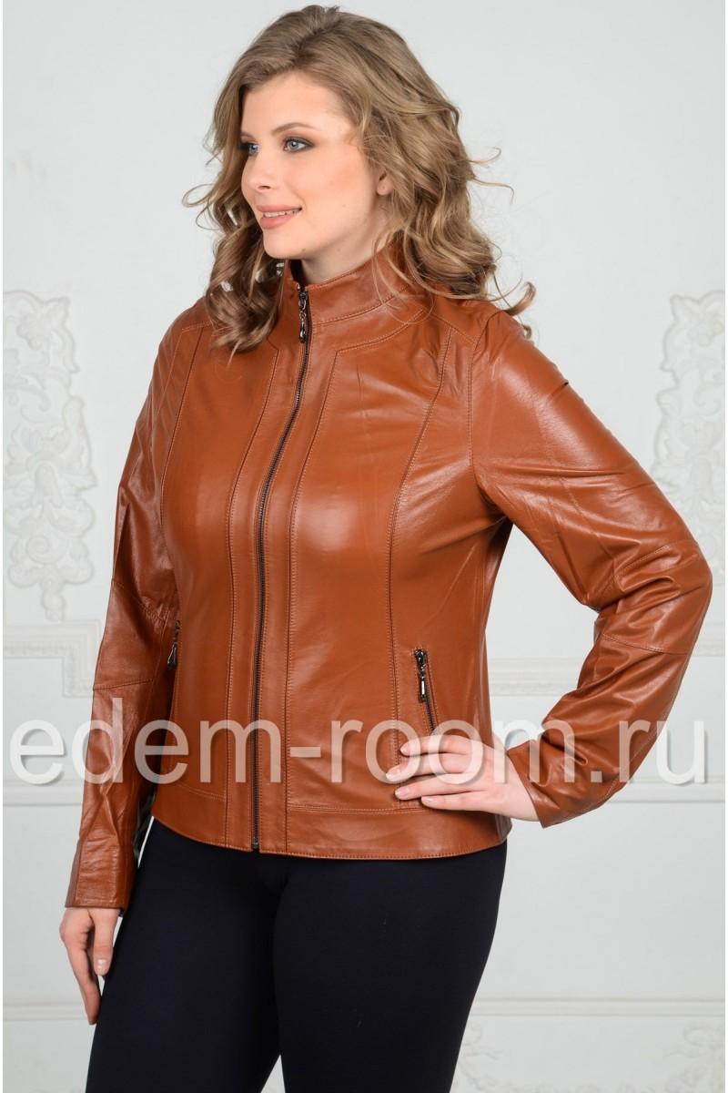 Коричневая кожаная куртка на большие размеры